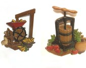 Vintage 1978 Homco Country Harvest Metal Wall Plaques, Butter Churn Corn Mill, Kitchen Home Decor, Rustic Wall Hangings, Farmhouse Decor