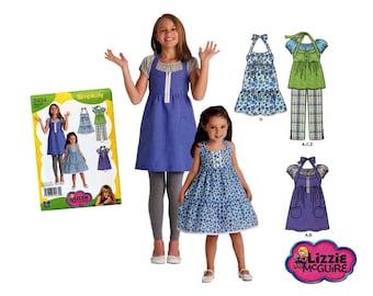 Simplicity 2434, Girls Dress Pattern, Girls Tunic Pattern, Girls Cropped Pants Pattern, Girls Top Pattern, Lizzy McGuire Pattern, Girls 3-6