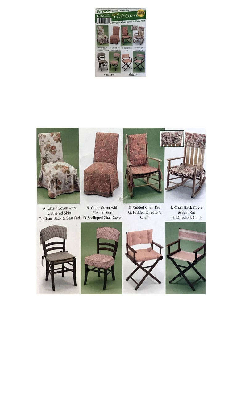 Easy Chair Cover Pattern Seat Pad Cover Diy Chair Pad Simplicity 5952 Home Decorating Sewing Pattern Donna Lang Directors Chair Cover