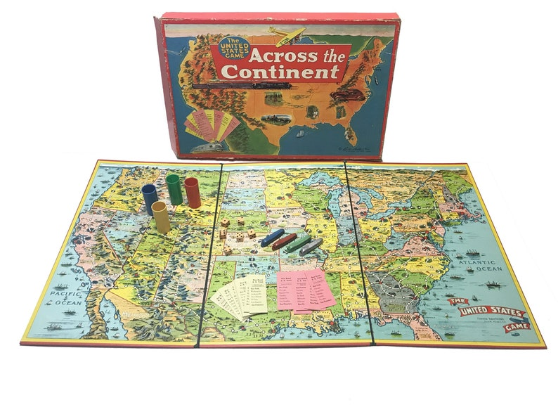 Vintage 1952 The United States Board Game Across the Continent, Parker  Brothers, Metal Train Game Pieces, Rail Road Tickets, Family Game