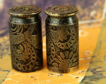 2 - 45 Caliber 12mm Etched Brass Bullet Shell Casings for your Steampunk Assemblage Jewelry  - Bead Caps, Stone Caps, Pendants, Necklaces