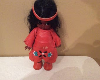 Native American/ Indian girl kewpie style plastic doll
