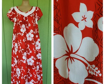 5bdfdbe54286 Vintage Hilo Hattie Hawaiian Dress, MuuMuu Floral Dress, Maxi Hawaiian Dress,  Size Large