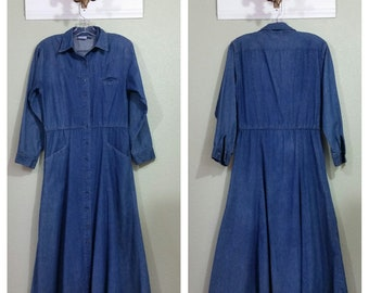 Vintage Denim Shirt Dress by Avon fashions, Denim Dress, 80's Denim Dress, M/L
