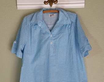 Vintage 70s color block check print blouse Blue red purple silver colored Victorian style blouse Asymmetric button closure Mandarin collar