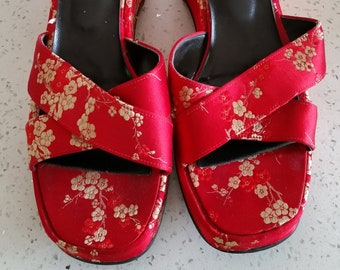 0b4a6f597 Vintage red Satin Asian Floral Embroidered Chunky Sandals by Greater LA