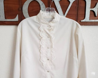 Vintage Musseline Beige See Trough Ruffled blouse handmade fits well size  M one of a kind