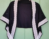 Vintage Wool Shawl, Wool and Lace With Gems, Black and Cream