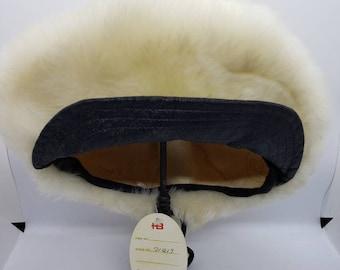 fd3c345b760e00 Vintage Mod Cap, Fur hat, Newsboy Tuscan Lambs Skin Fur and Leather Cap,  1970's Late 1960's Cap, Hippie Hat