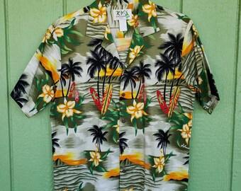 e8000358 Hawaiian Shirt by KY's Hawaii, Brightly Colored Hawaiian Print Shirt,  Surfboard Island Print. Size 46