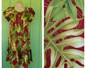 8fb2dd58bb6f Vintage Hawaiian Muumuu Dress by Royal Hawaiian Creations, Short Hawaiian  Dress with Leaf Print, Size S 36