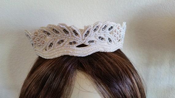 Vintage Wedding Headpiece, Crown, Covered in Seed