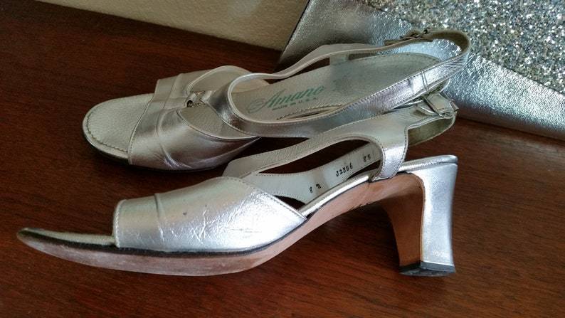 93e588f2494 Vintage Metallic Silver Leather Sandals by Amano USA Leather