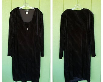 "Vintage Velvet Dress by All That Jazz, Sparkly Stretch Velvet Plus Size Formal Holiday Dress | 50"" Chest"