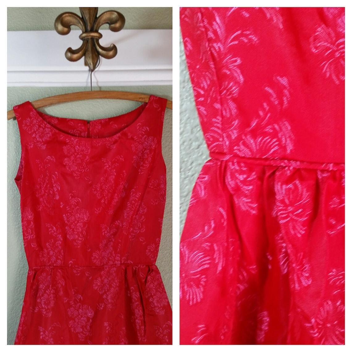 1950's Pink Brocade Cocktail Dress Sundress Evening