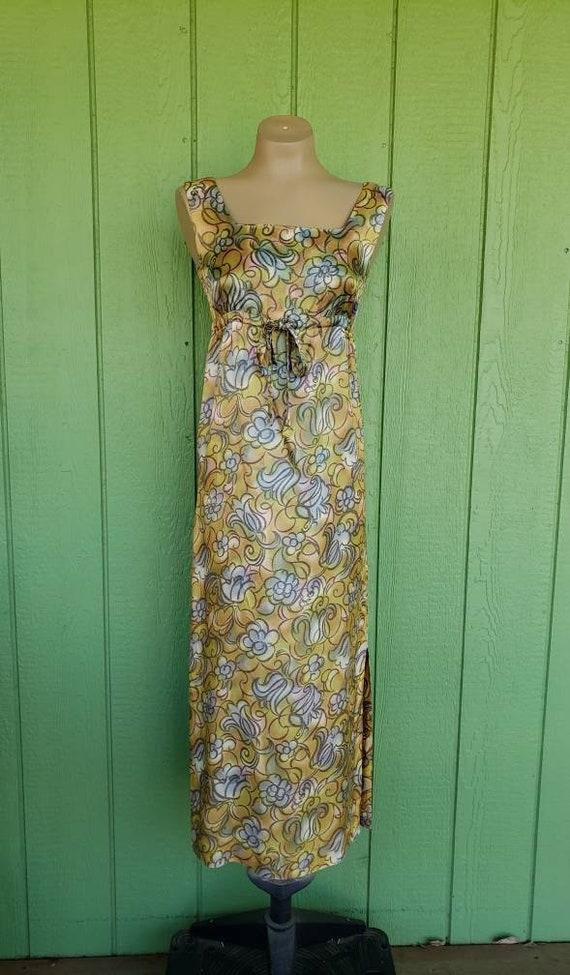 Vintage 1950's Kai Loa Hawaiian Maxi Dress, Abstra