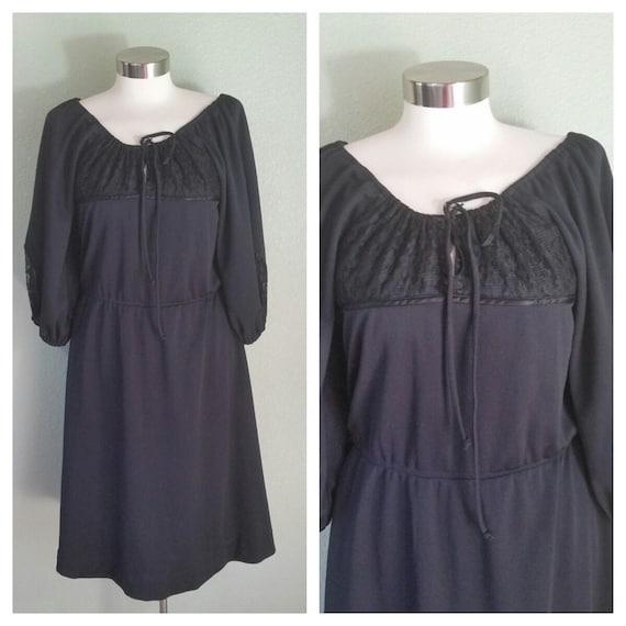 Vintage 70's Peasant Dress, Black Peasant Dress, G