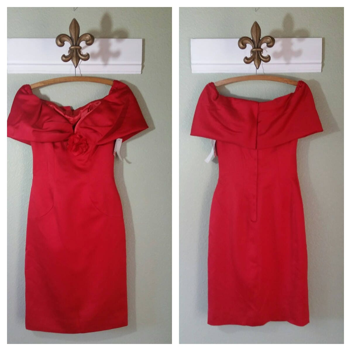 80s Dresses | Casual to Party Dresses Victor Costa Cocktail Dress, 1980s Cold Shoulder Red Size SM $12.00 AT vintagedancer.com