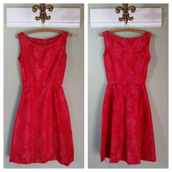 1950's Pink Brocade Cocktail Dress, Sundress, Even