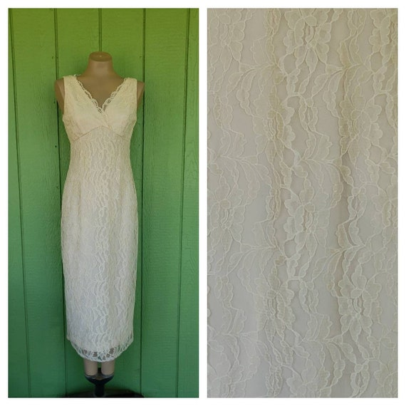 Vintage 1990s Long Lace Maxi Dress By Jessica Howard Petites Cream Lace Evening Gown Second Wedding Gown Size Sm 34 Bust
