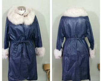 Leather and Fur Coat, Blue, Large, 60's/70's