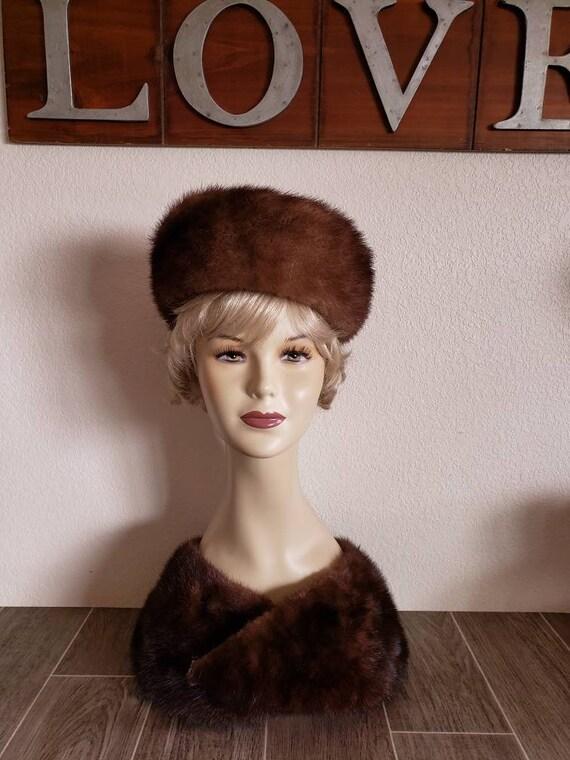 Vintage Mink Pill Box Style Hat, Brown Mink Hat, P