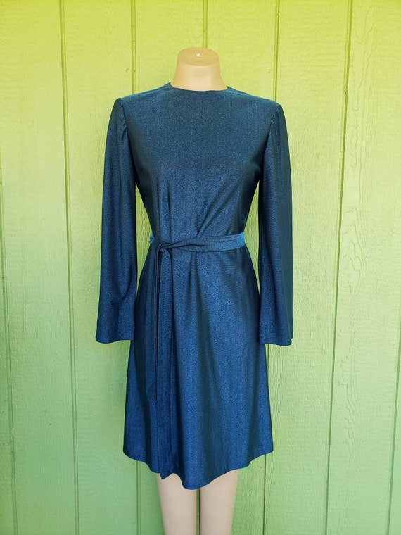 Vintage 1970's Metallic Blue Dress | 1970's Cockta