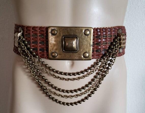 80s fancy belt metallic leather belt disco boho belt bohemian belt shiny belt hips waist belt pop-art belt 80s embellished belt