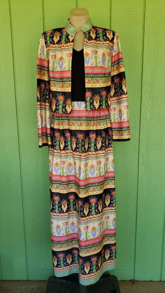 1970's Maxi Dress, 2 Piece Dress,  Long Dress with