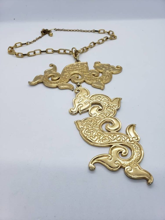 Vintage Napier Gold Tone Double Dragon Catwalk Nec