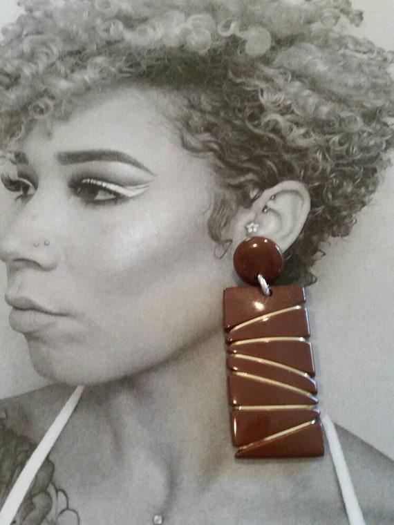 80's Large Drop Earrings, Pierced Earring, 1980's by Etsy