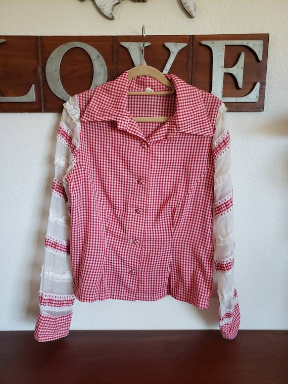 90s vge Ruffle Blouse with Red Tartan Plaid Trim  Size Med