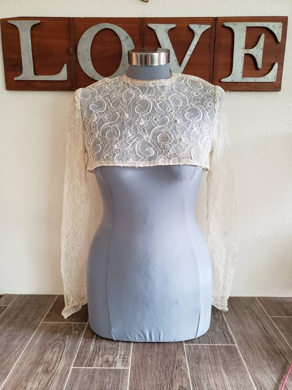 Antique Sheer Lace Crop Blouse for Over Wedding Dr