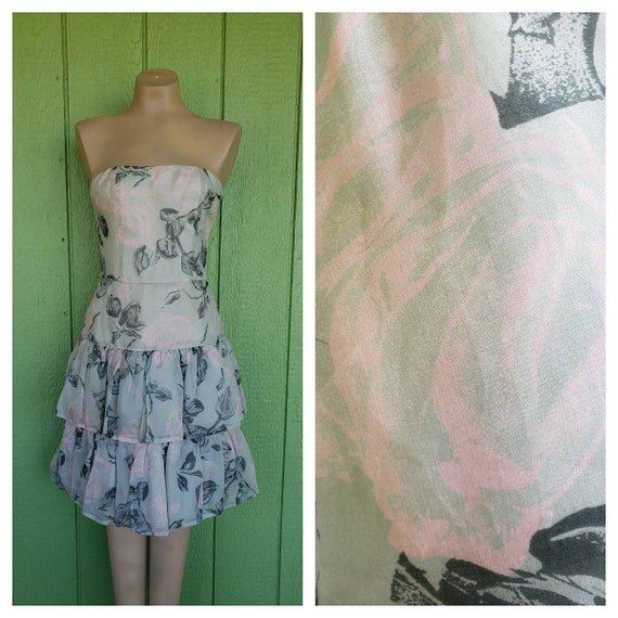 1980's Strapless Prom Dress, Floral Layered Prom D