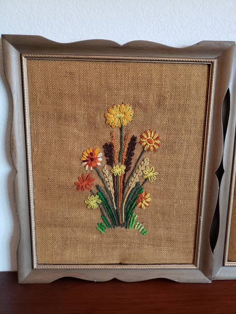 Vintage framed crewel art from the seventies kitschy fiber artwork