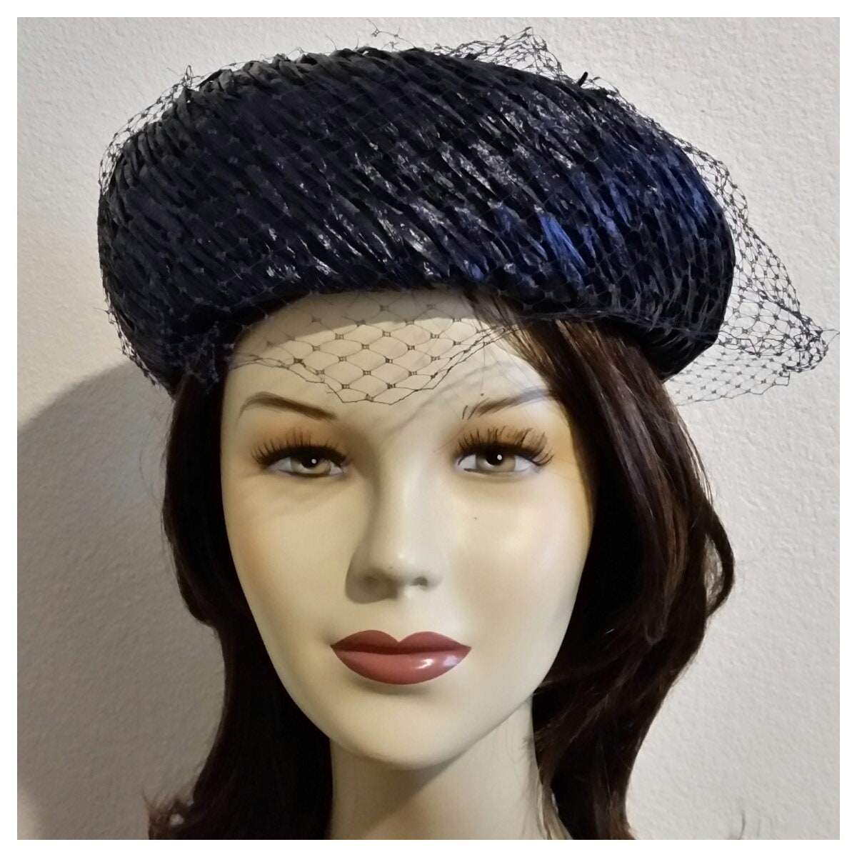 2525b7222242e Vintage Pill Box Style Hat with Face Veil Raffia Straw Fabric