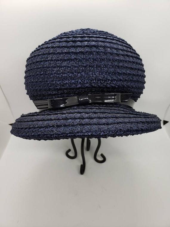 Vintage Straw Hat by Dayne, Raffia Hat, Navy Blue