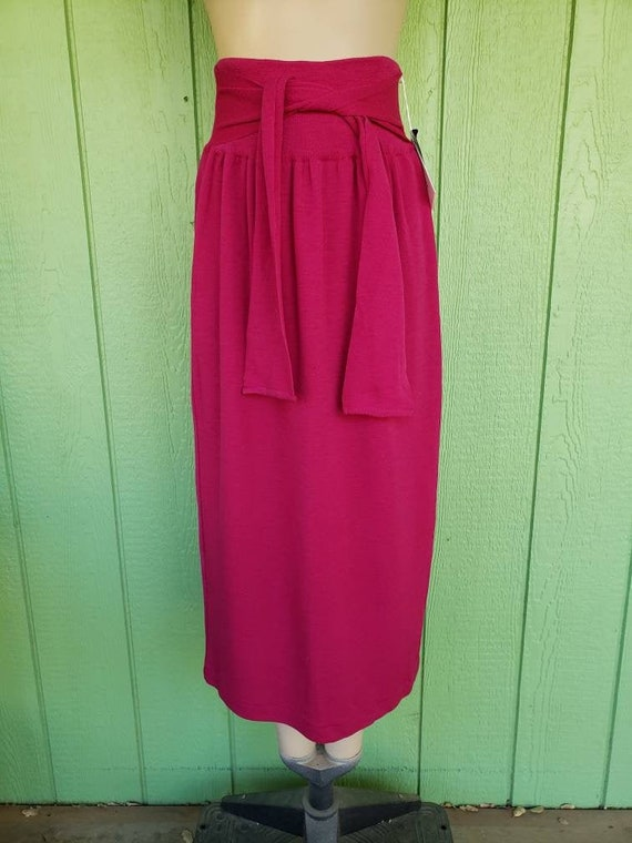 Vintage 1980's Hot Pink Wool Knit Maxi Skirt, Fuch