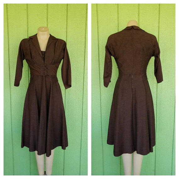 Vintage 1950's Dress with Bolero Jacket | Brown Em