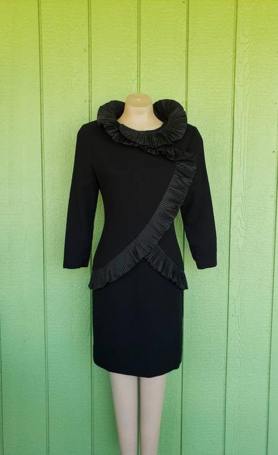 Vintage Avant Garde Couture Black Cocktail Dress … - image 1