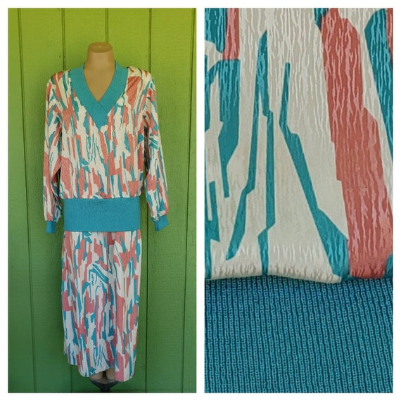 vintage retro spotted blue dress 1980s party vintage 80s drop waist dress 20s costume