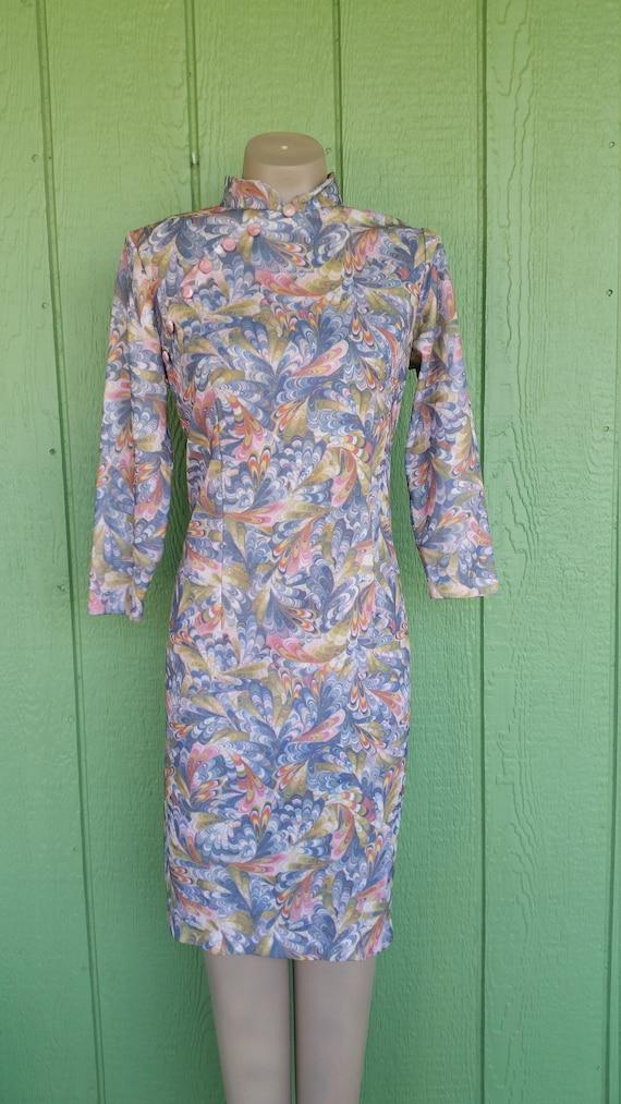 Vintage 1970's Mandarin Style Cheongsam Polyester
