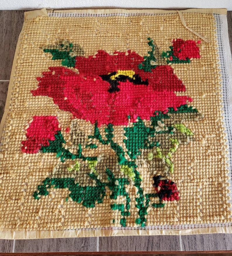 Floral Needlepoint Panel Vintage Needlepoint Panel Completed Large 15 X 15 Red Floral Needlepoint with Ladybug Accent