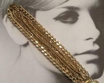 Vintage Multi Chain Link Bracelet, Goldtone,