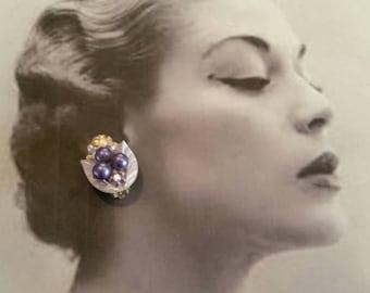 Vintage Clip On Earrings, Faux Pearls, Leaves, Gems, Lavender, 1960's