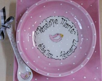 Personalized Baby Bowl, Spoon & Plate Set