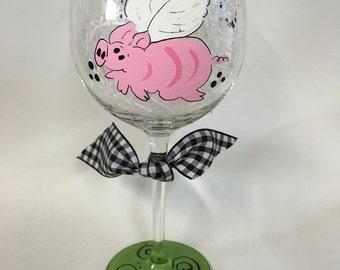 Handpainted Flying Pig Wine Glasses