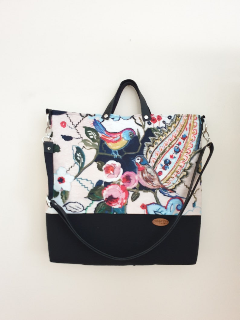 Cute birds and flowers tote bag shopping bag love birds hobo bag floral fabric bag