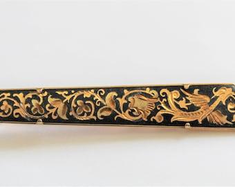 c77e42686d7a Vintage Damascene tie clip. Black and gold tie clip
