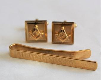 971c4990b829 Vintage Masonic cufflinks and tie clip